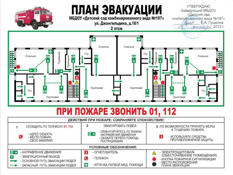план эвакуации в детском саду