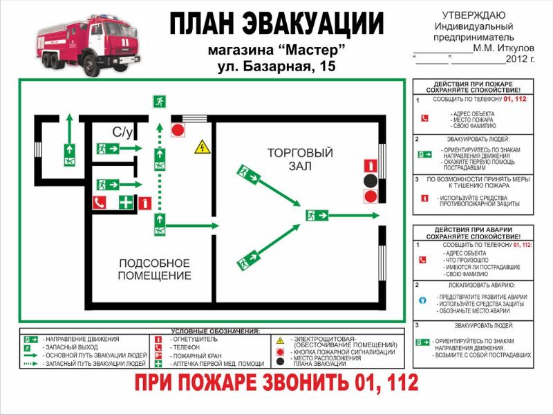 Нарисовать план эвакуации своими руками 97